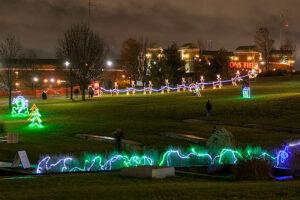 various christmas light displays in jordan valley park at night