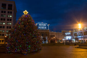 lighted christmas tree on park central square at night